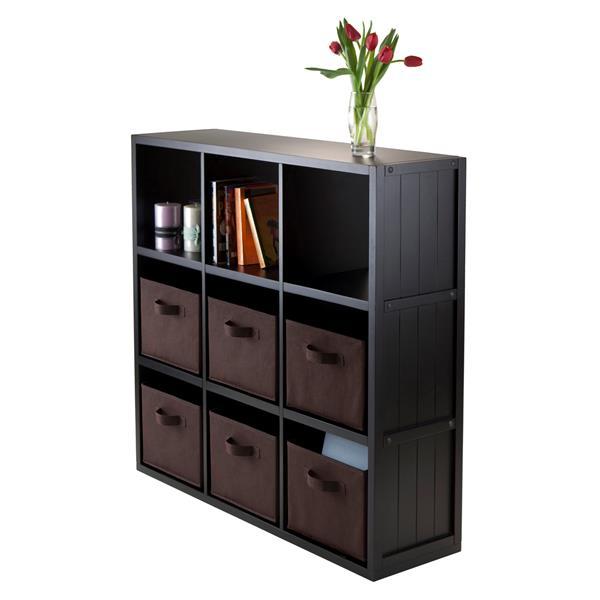etagere de rangement timothy a 9 cubes et 6 panier 40 noir