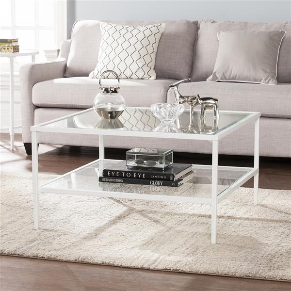 boston loft furnishings kerym 32 in x 32 in x 18 in soft white frame and clear glass top rectangular coffee table