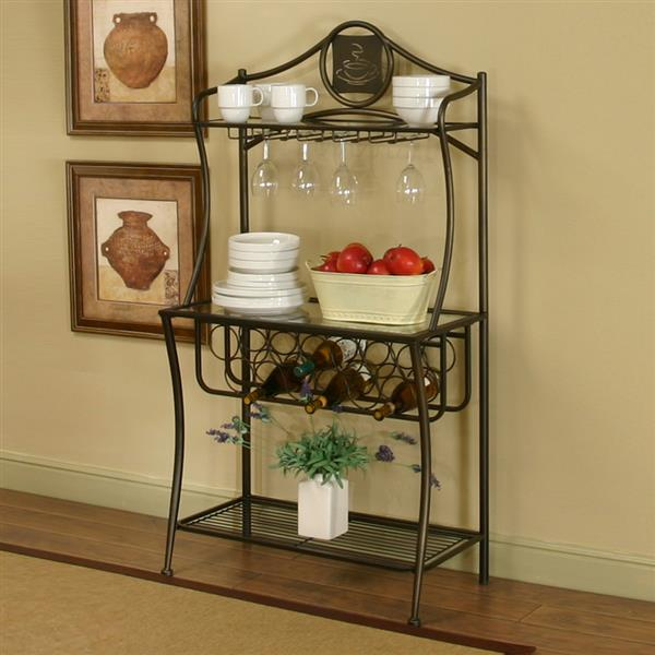 sunset trading 32 in x 50 in medium brown metal bakers rack with wine storage