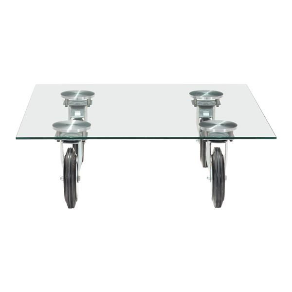 zuo modern belle coffee table with wheels 40 2 in x 40 2 in clear glass