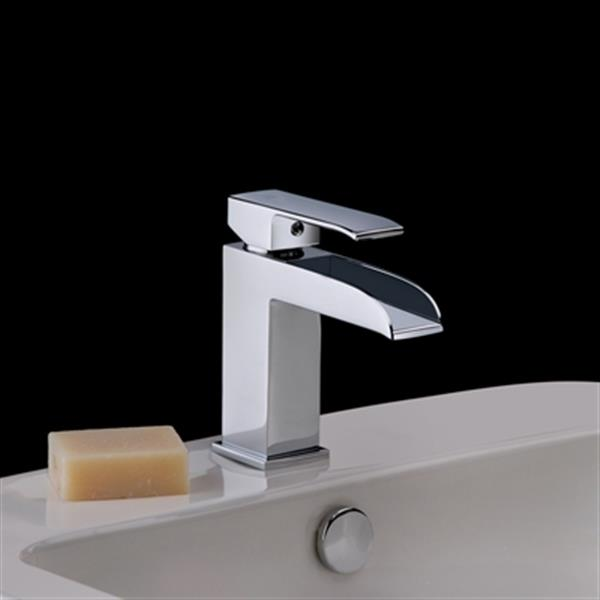 ws bath collections level polished chrome waterfall spout bathroom faucet