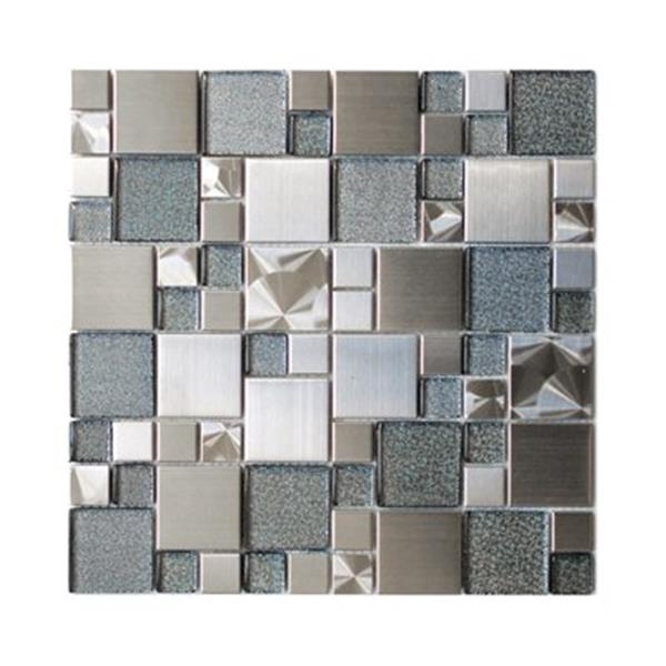 eden mosaic tiles modern cobble with silver glass tile stainless 11 pack