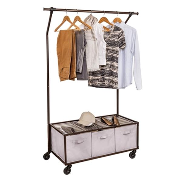 honey can do bronze portable garment rack with storage bins