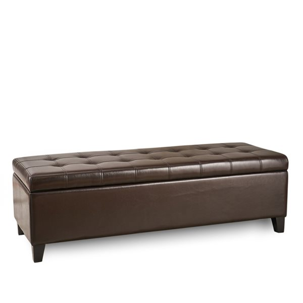 best selling home decor mission brown faux leather rectangular storage ottoman