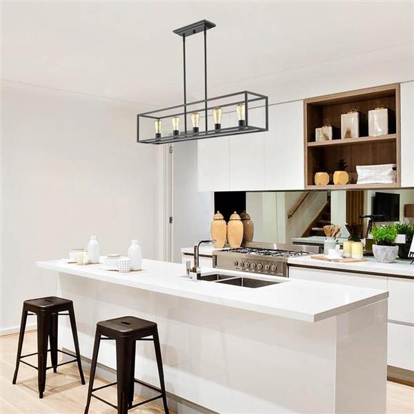 golden lighting wesson 41 0 in w 5 light black transitional kitchen island light