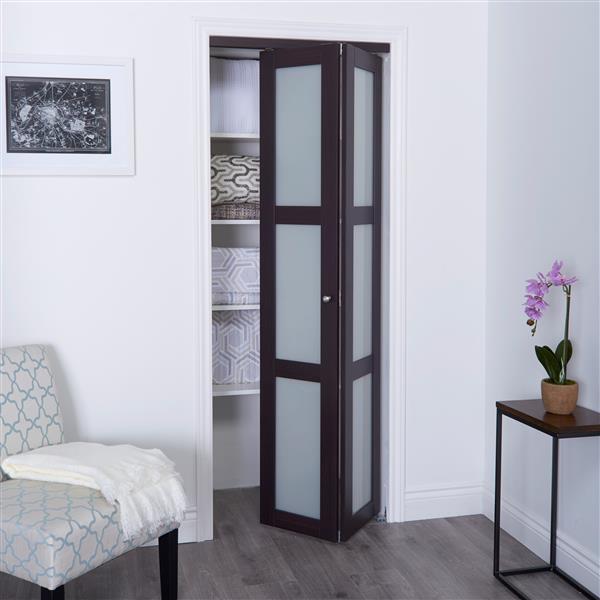 reliabilt 30 in x 80 in dark brown frosted glass closet door
