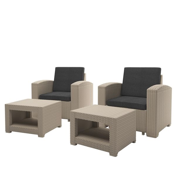 corliving outdoor chair and ottoman set beige