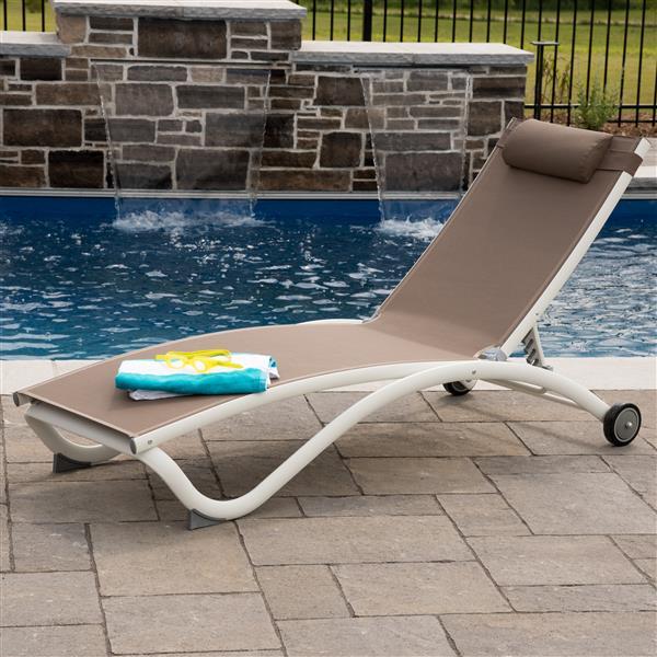 chaise longue glendale en aluminium 4 positions tan