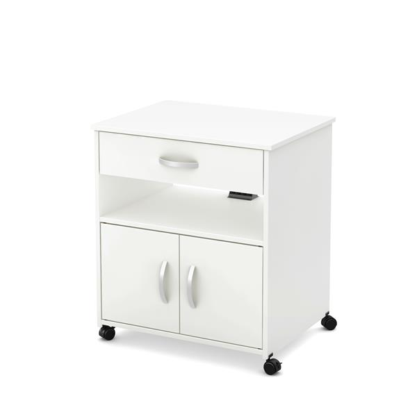 south shore furniture axess microwave cart on wheels white