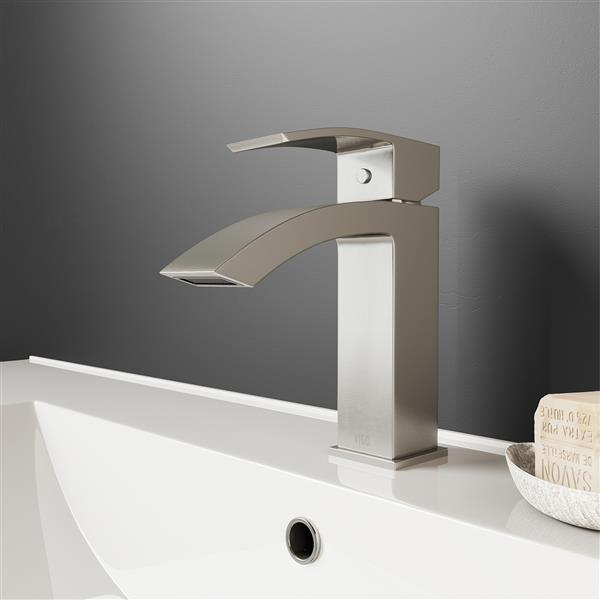 robinet de salle de bain monotrou nickel brosse