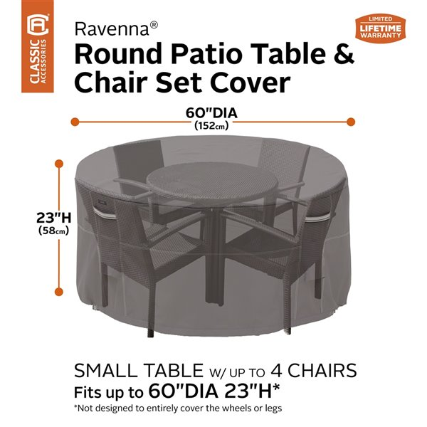 classic accessories ravenna patio table and chair set cover polyester 60 in dark taupe