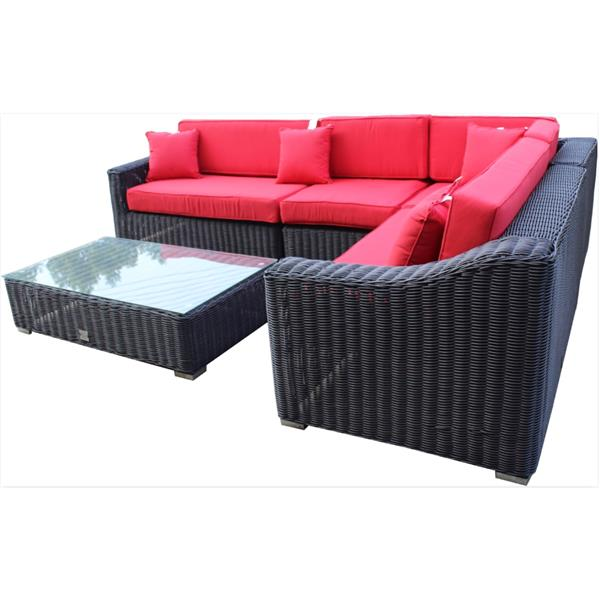 wd patio tropicana sectional patio set wicker brown red