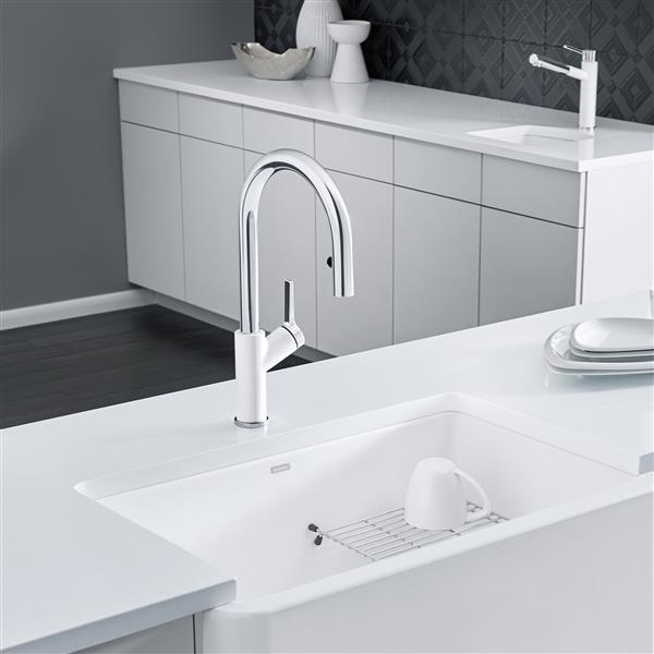 blanco urbena pull down kitchen faucet chrome white