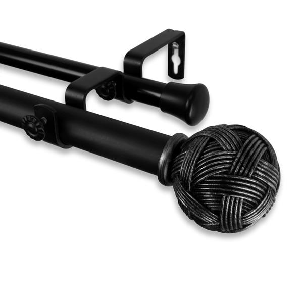 rod desyne twine double curtain rod 48 in to 84 in black