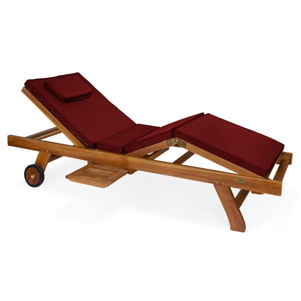 all things cedar teak chaise lounge red cushion