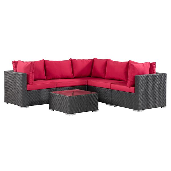 patio flare napier sectional sofa set matte black and red