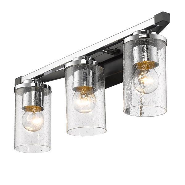 golden lighting mercer 3 light bath vanity light with glass black