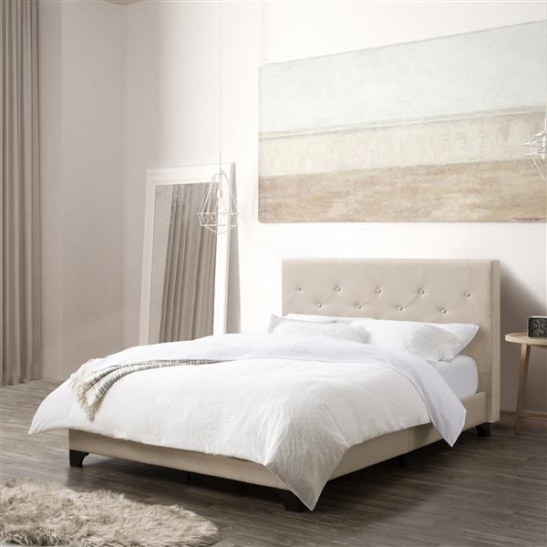 lit et cadre de lit a bouton capitonne tissu creme double