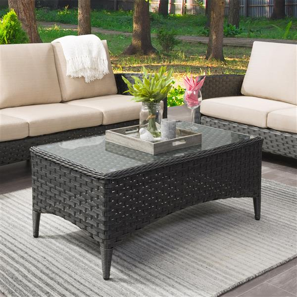 corliving wide rattan patio coffee table with glass table top 43 x24