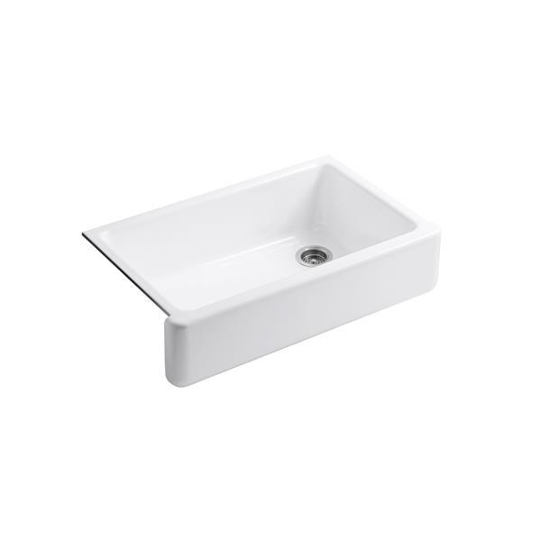 kohler whitehaven undermount single kitchen sink 35 69 in white
