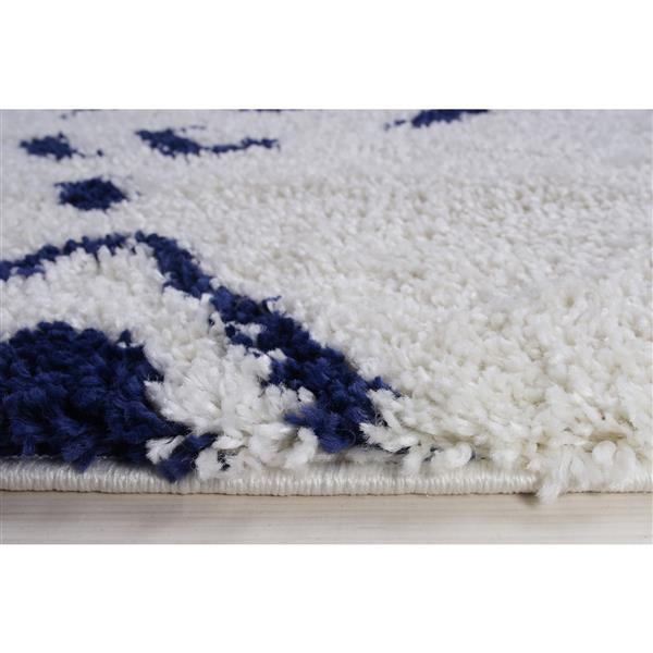 petit tapis a poil long abstrait kenitra 3 x 5 blanc