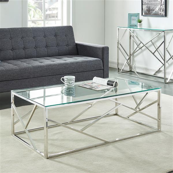 table basse nspire 47 25 po x 15 75 po verre transparent base argentee