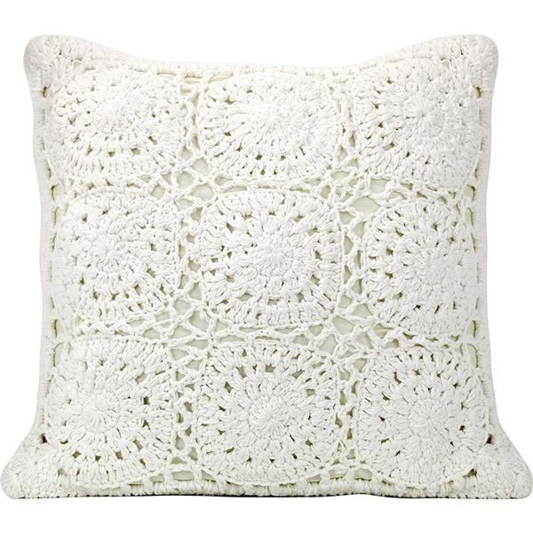 coussin decoratif crochet en polyester 18 x 18 blanc
