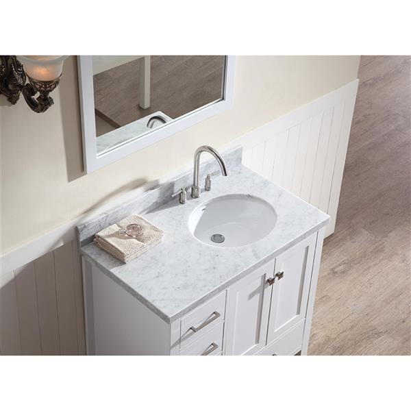 ariel right offset single oval sink vanity 37 in white