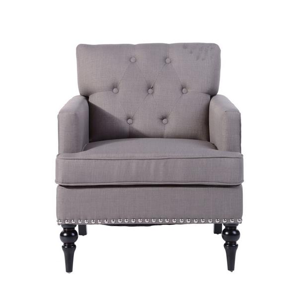 furniturer patten tufted upholstered accent chair wood legs grey