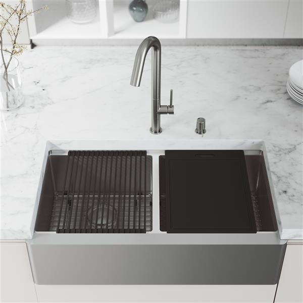 en ca oxford flat stainless steel double bowl sink with accessories 36 in