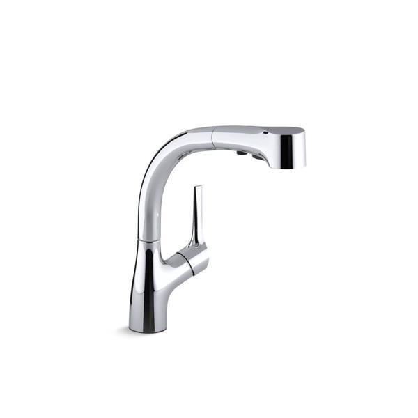 kohler elate kitchen sink faucet pull out spray polished chrome