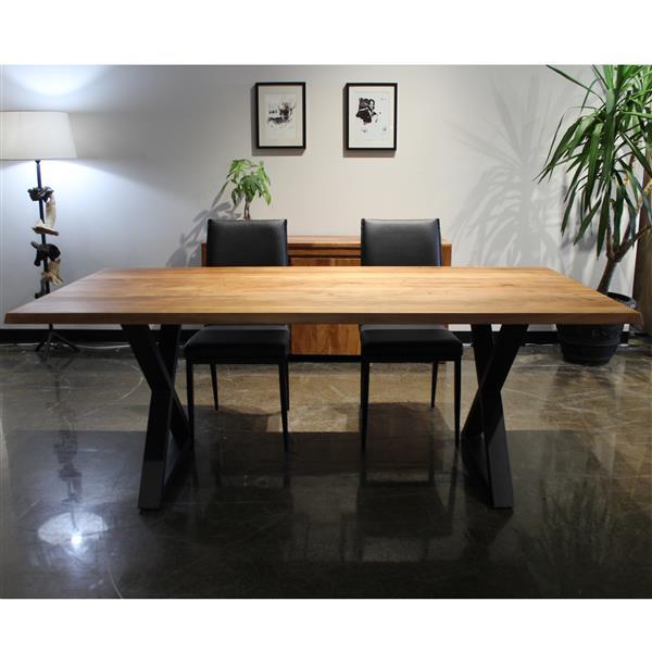 corcoran acacia dining table 80 in black metal x legs