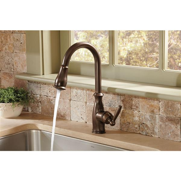 moen brantford collection pulldown kitchen faucet oil rubbed bronze