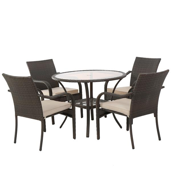 best selling home decor amaryllis pico patio dining set brown wicker set of 5