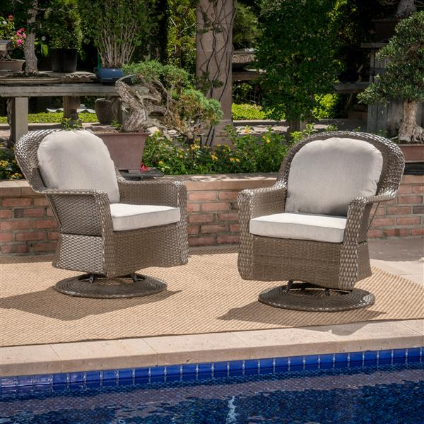best selling home decor roderick outdoor swivel club chairs brown wicker set of 2