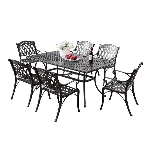 oakland living traditional outdoor dining set 64 in rectangular table set of 7