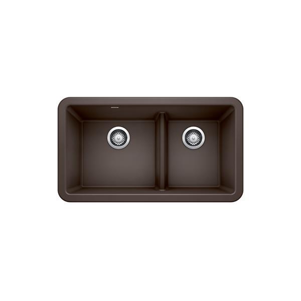 blanco ikon double bowl farmhouse sink 33 in cafe