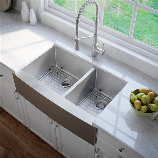 kraus standart pro apron front farmhouse kitchen sink double offset bowl 35 88 in stainless steel