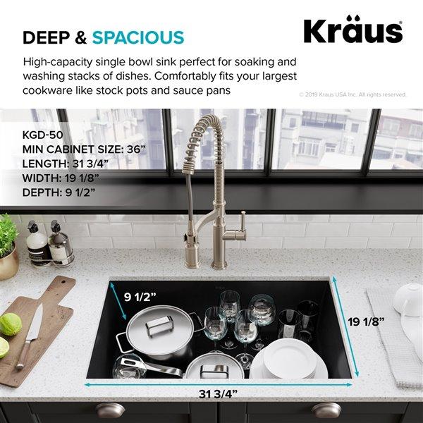 kraus forteza undermount kitchen sink single bowl 31 75 in black