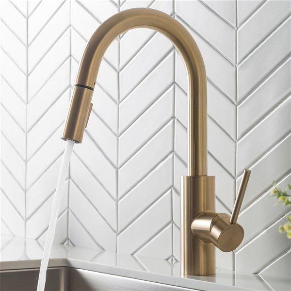 https www rona ca en kraus oletto pull down kitchen faucet single handle brushed brass kpf 2620bb 330718009