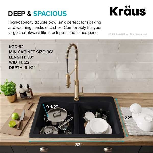kraus forteza drop in undermount kitchen sink double equal bowl 33 in black