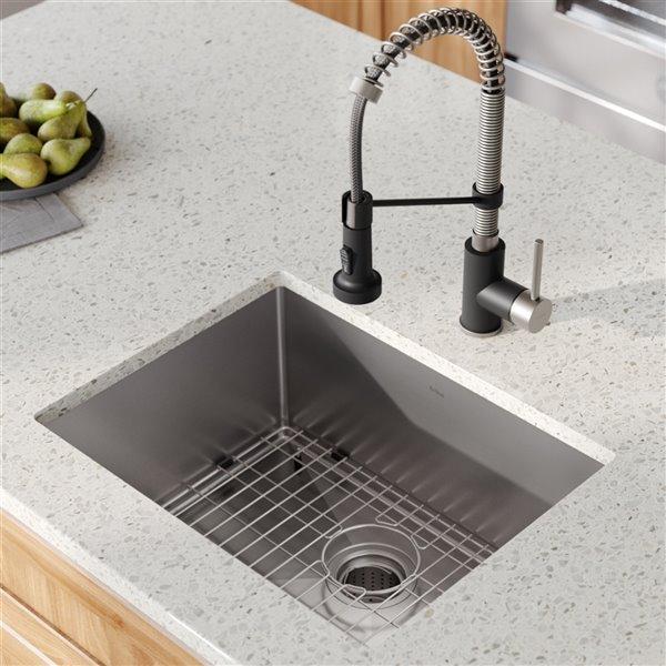 kraus standart pro undermount kitchen sink all in one kit single bowl 23 in stainless steel