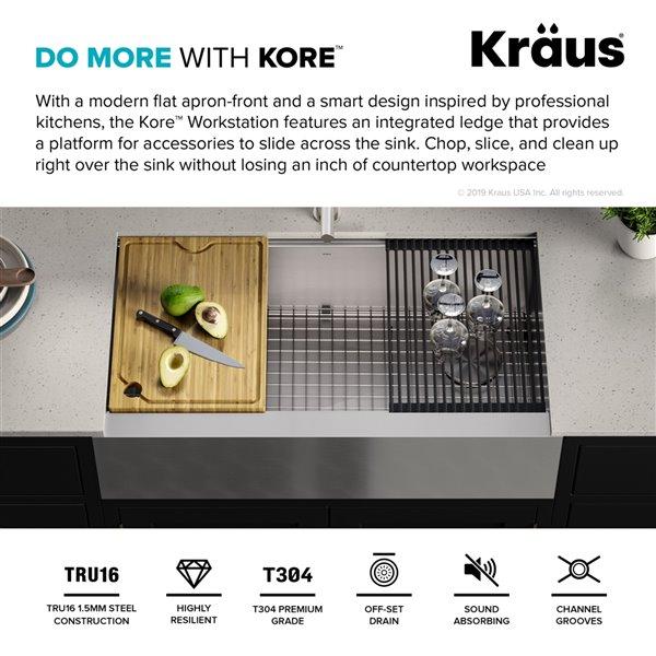 kraus kore apron front farmhouse workstation kitchen sink single bowl 35 88 in stainless steel