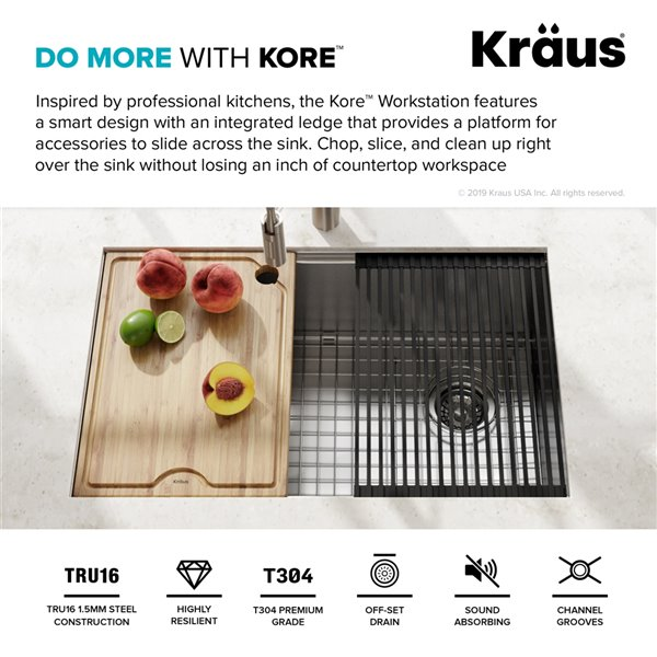 kraus kore undermount workstation kitchen sink single bowl 30 in stainless steel