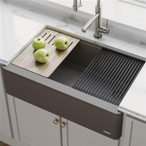 kraus bellucci apron front farmhouse workstation kitchen sink single bowl 32 88 in brown