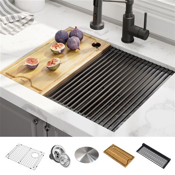 kraus kore undermount workstation kitchen sink single bowl 23 in stainless steel