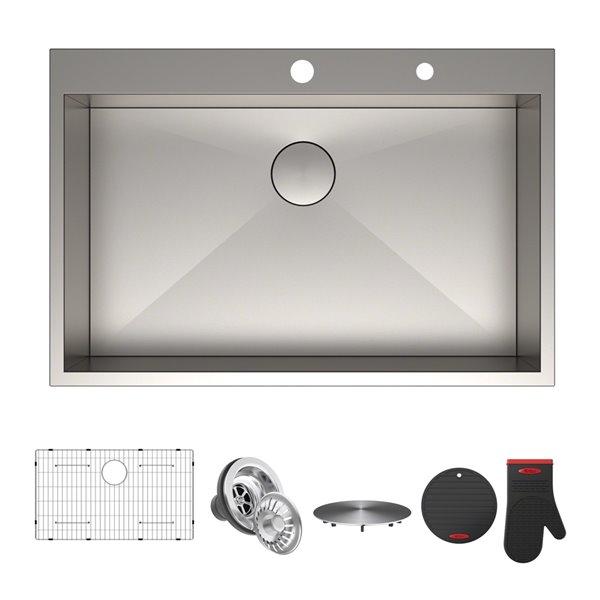 kraus pax drop in kitchen sink single bowl 33 in stainless steel