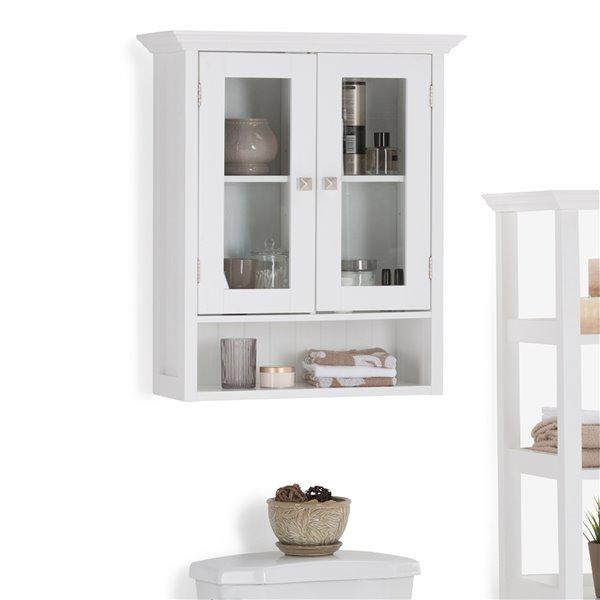 armoire murale pour salle de bain acadian simpli home a porte double blanche