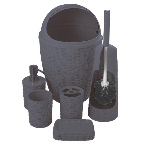 ensemble de 6 accessoires pour salle de bains de superio gris