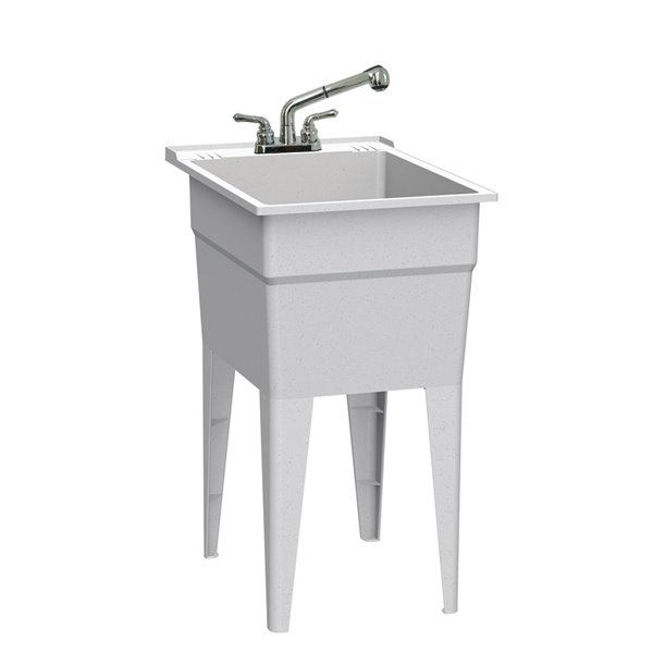 ruggedtub all in one laundry sink with faucet narrow classic granit 18 in